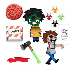Zombie Clip Art | Zombie Clip Art Clipart Vector Art Graphics for by StarCityDesigns, $4 ...