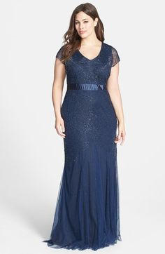 Adrianna Papell Beaded Chiffon Gown (Plus Size) | Nordstrom
