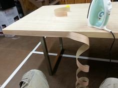 Diy Desk 1 0 Lying Iron On Veneer To The Edge Of A Solid