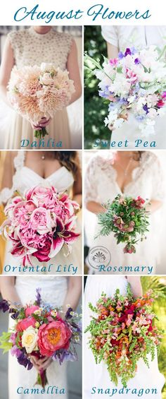 #Wedding #Florals: August Flowers - Lucky in Love Wedding Planning Blog - Seattle Weddings at Banquetevent.com #summerflowers #weddingflowers #augustflowers
