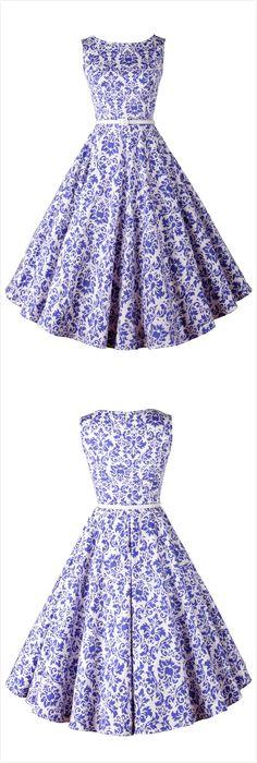 Blue White Porcelain Sleeveless Swing Dress                                                                                                                                                                                 More