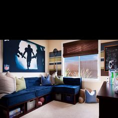 Jackson 's dream bedroom! I want to know where to get those brown storage underneath the futon!