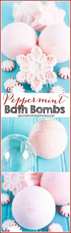 Peppermint Bath Bombs - how to make bath bombs in an ornament ball or snowflake shape. These are great for Christmas!DIY Peppermint Bath Bombs - how to make bath bombs in an ornament ball or snowflake shape. These are great for Christmas! Diy Spa, Diy Christmas Gifts, Holiday Crafts, Xmas, Homemade Christmas, Christmas Ideas, Christmas Snowflakes, Christmas Candles, Christmas Christmas