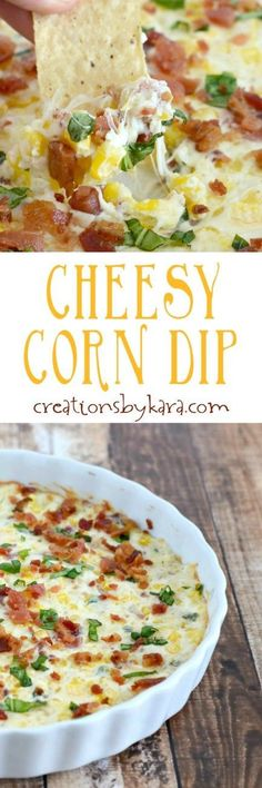 Cheesy Corn Dip with Bacon - serve this yummy dip with tortilla chips for an appetizer everyone will love!