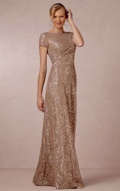 Sheath Crew Neck T-shirt Short Sleeves Back zip Metallic Taupe Lace Prom Evening Dresses Elegant Mother Gowns with Crystal Sash Mother Of Groom Dresses, Bride Groom Dress, Mothers Dresses, Mother Of The Bride, Elegant Dresses, Pretty Dresses, Beautiful Dresses, Mob Dresses, Bridesmaid Dresses