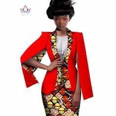Africa Style Women African Clothing Two Piece Set Dress Suit for Women Tops Jacket and Print Skirt Bazin Riche Clothing Blazers For Women, Suits For Women, Jackets For Women, Clothes For Women, African Tops, African Women, Blazer Fashion, Suit Fashion, Setswana Traditional Dresses