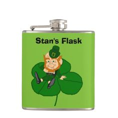 Happy St. Patrick's Day Custom Flask ; $26.95 -  #stanrail - Customize this 6 oz. Liquid Courage™ stainless steel flask for a fun and hip on-the-go accessory. Your text, photos or designs are professionally printed in vibrant color on high quality vinyl and permanently wrapped around the flask. The Liquid Courage™ flask is a great gift for weddings, birthdays, and special events! @stanrails_store