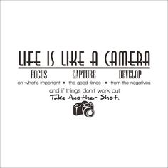 Life is a camera quote wall stickers home decor photograph home decoration wall sticker