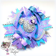 #mickey #minnie #disney #vacation #overthetop #hairbow #stackedbow #missbsbowtique #thebowbratz #Rhinestone #bling #Aqua #purple Be sure to follow us on facebook for weekly auctions and more at www.facebook.com/missbsbowtique05  Custom order your bow today at www.etsy.com/shop/missbsbowtique05