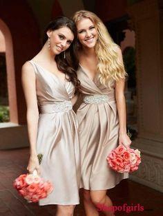 Elegant A-Line Beading Sleeveless V-neck Empire Satin wedding party Bridesmaid dress WPBD-9463
