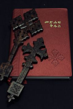 Amharic Bible and Ethiopian crosses