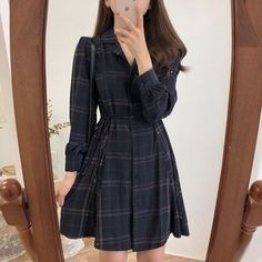 Buy monroll Long-Sleeve Plaid Mini A-Line Shirtdress at YesStyle.com! Quality products at remarkable prices. FREE Worldwide Shipping available! Korean Fashion Styles, Korean Girl Fashion, Ulzzang Fashion, Asian Fashion, Fat Fashion, Fashion Spring, Teen Fashion Outfits, Mode Outfits, Fashion Dresses