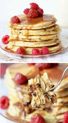 chocolate chip pancakes with chocolate butter glaze perfect for breakfast! More drool-worthy and creative baked desserts on iambaker.net!