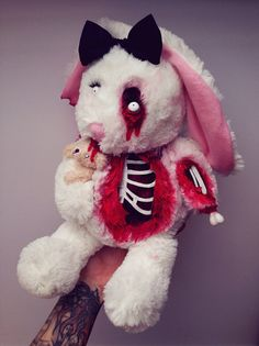 DeddyBears- Soft White Zombie Rabbit with Little Bear inspired by Alice in Wonderland on Etsy, $52.06