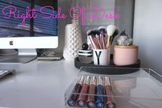 Office decor concrete tray makeup brushes