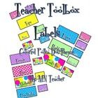 Labels for Teacher Toolbox in a colorful polka dot theme.  There are 8 large and 14 small labels to be used with the toolbox from Lowes or similar....