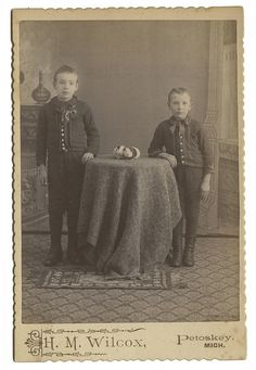 Two Boys and Two Guinea Pigs. Photograph by H. M. Wilcox, Petoskey MI. Found in WI.