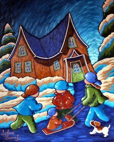 Cabane Art Fantaisiste, Illustration Noel, Illustrations, Storybook Cottage, Christmas Drawing, Middle School Art, Pastel Drawing, Naive Art, Whimsical Art