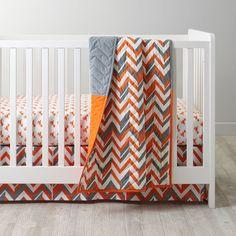 Little Prints Crib Fitted Sheet (Orange Dinosaur) | The Land of Nod