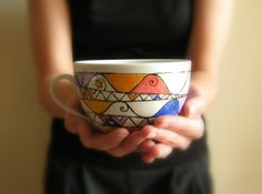 Tea cup - Geometric - Triangles- Star - hand painted in Italy on Etsy, $22.68 CAD