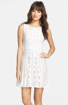 Free shipping and returns on BCBG MAXAZRIA BCBGMAXAZRIA 'Kelley' Paneled Lace Fit & Flare Dress at Nordstrom.com. Varied panels of lace and tulle separated by raw-edge georgette trim are pieced together to form a sweetly flared frock.