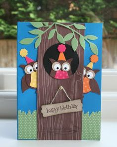 Julie's Japes - An Independent Stampin' Up! Demonstrator in the UK: Owl Punch Owl Punch Cards, Owl Card, Kids Birthday Cards, Birthday Hats, Bird Cards, Scrapbook Cards, Scrapbook Albums, Cute Cards, Creative Cards