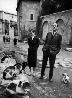 Audrey Hepburn and husband Mel Ferrer photographed by Sanford Roth in Rome, Italy, in March 1958.