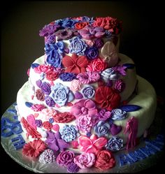 3 Tier Floral Anniversary Cake ~ Custom-Made-To-Order Cakes & Desserts for All Occasions  www.sumptuoustreats.com