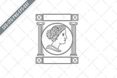 Greek Muse Monoline Style Retro by patrimonio Stencil Wall Art, Birthday Design, Line Illustration, Style Retro, Greek Mythology, Ancient Greek, Vector File, Design Bundles, Muse