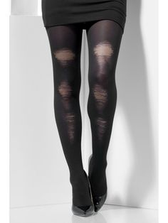 f57102099 Black Tights Opaque With Distressed Detail Lades Underwear  Hosiery Opaque Distressed Black Meias