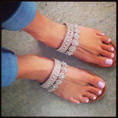 shoes white sandals beige diamonds flats
