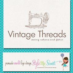 Sewing Logo   Premade Logo Design Vintage Sewing Machine