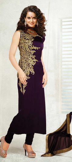 412481: Purple and Violet color family unstitched Bollywood Salwar Kameez.