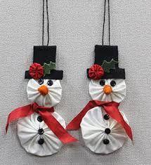 "I enjoy making Yo-Yos, so I thought I would ""whip up"" some Yo-Yo ornaments I. Fabric Christmas Ornaments, Christmas Sewing, Christmas Decorations, Snowman Ornaments, Dough Ornaments, Snowman Decorations, Homemade Ornaments, Homemade Christmas, Christmas Crafts"