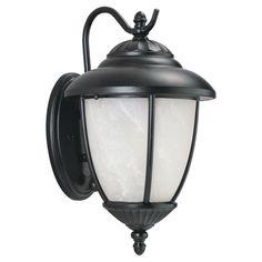 Sea Gull Lighting 89049PBLE Yorktown 1 Light Outdoor Lantern Wall Sconce Black Outdoor Lighting Wall Sconces Outdoor Wall Sconces