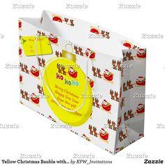 Yellow Christmas Bauble with Santa's & Sleigh Large Gift Bag