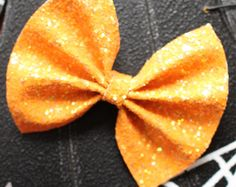 Baby Girl | Newborn | Toddler | Girls Halloween Orange Glitter Bow Nylon Headband | Hair Clip | Pig Tail Bows