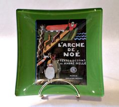 Decoupage Glass Dish 6x6 inch Art Deco Noah's Ark Trinket Tray SHIPPING INCLUDED