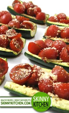 Low Carb, Gluten Free Zucchini Bruschetta. A low calorie, low fat and gluten free take on bruschetta. And, drop dead delicious!!! Each piece has 23 calories, 1g fat and 0 Weight Watchers POINTS PLUS. http://www.skinnykitchen.com/recipes/low-carb-zucchini-bruschetta/
