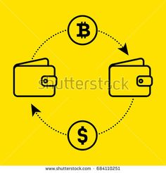 Icon dollar to bitcoin exchange of currency. Flat design. Vector illustration  isolated a yellow background for website or app and etc.