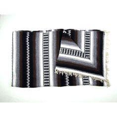 Large Vintage Mexican Blanket Brown Black Grey