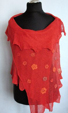 Linen Scarf Red Shawl Wrap Stole with Crocheted by Initasworks, $129.00