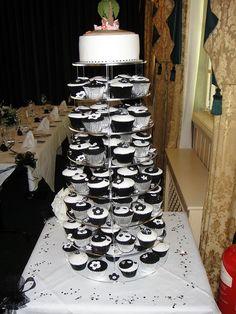 Black and White wedding cupcake tower.
