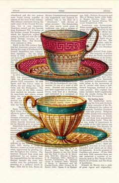 Teacup Upcycled Dictionary Page Two Teacups print on dictionary book wall art book print. $6.99, via Etsy.