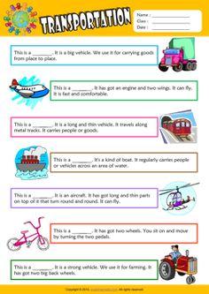 Transportation Find the Words ESL Vocabulary Worksheet
