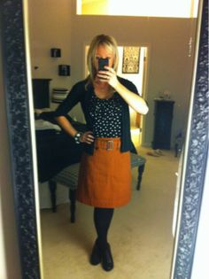 orange skirt, polka for top