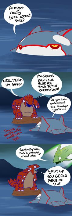 Groudon vs Kyogre by Protocol00.deviantart.com on @deviantART -- This is HILARIOUS