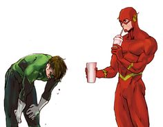 Green lantern tried to catch flash. then we all know what happened. #Flash #GreenLantern #DCComics. The flash is missing his symbol. I really dont know why.