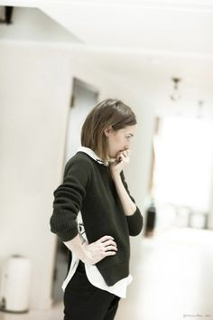 Caroline Ventura, black sweater / Garance Doré