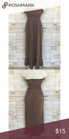 Fire Los Angeles strapless midi dress M Brand new Fire brown soft midi dress with smocked bodice and ruffled hem. 60% poly 36% rayon 6% spandex. Size M. Mid calf length. Fire Los Angeles Dresses Midi
